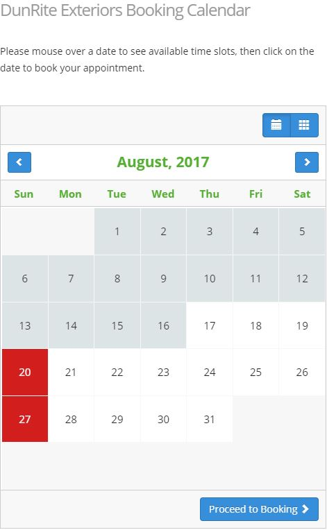 Screenshot of the DunRite Exteriors online booking calendar