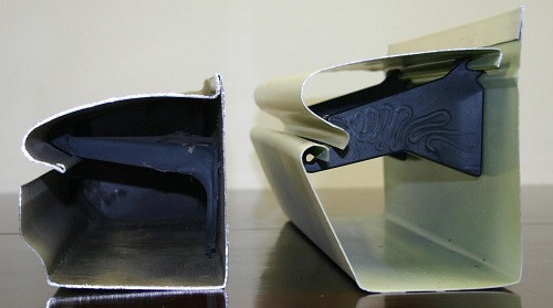 Size comparison of a one-piece gutter and two-piece K-GUARD gutter