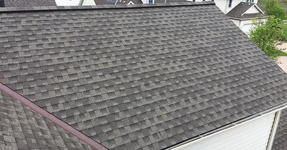 Ridge vent on a newly installed asphalt shingle roof